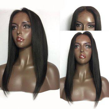Medium Center Parting Straight Human Hair Lace Front Wig - NATURAL BLACK NATURAL BLACK