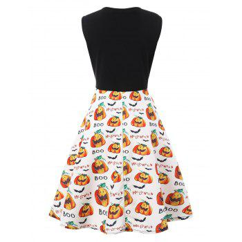 Plus Size Boo Halloween Pumpkin Vintage Dress - WHITE 3XL
