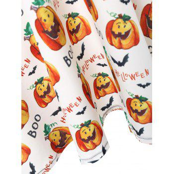 Plus Size Boo Halloween Pumpkin Vintage Dress - WHITE 4XL