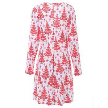 Plus Size Christmas Tree Printed Dress with Sleeves - WHITE 2XL