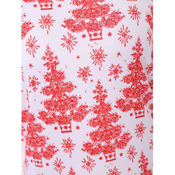 Plus Size Christmas Tree Printed Dress with Sleeves - 2XL 2XL