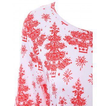 Plus Size Christmas Tree Printed Dress with Sleeves - 4XL 4XL
