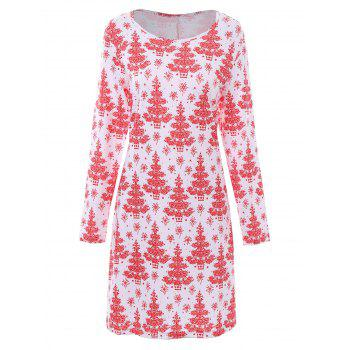 Plus Size Christmas Tree Printed Dress with Sleeves - WHITE WHITE