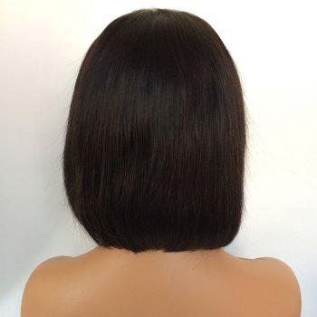Middle Part Straight Short Bob Lace Front Human Hair Wig -  NATURAL BLACK