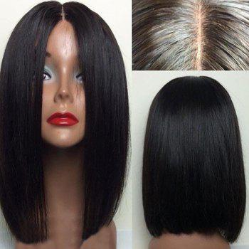 Middle Part Straight Short Bob Lace Front Human Hair Wig