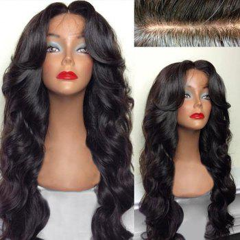 Long Free Part Bouffant Body Wave Lace Front Human Hair Wig -  NATURAL BLACK