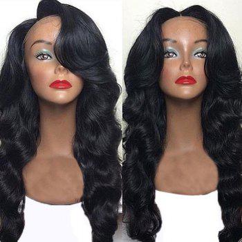 Long Free Part Bouffant Body Wave Lace Front Human Hair Wig - NATURAL BLACK NATURAL BLACK