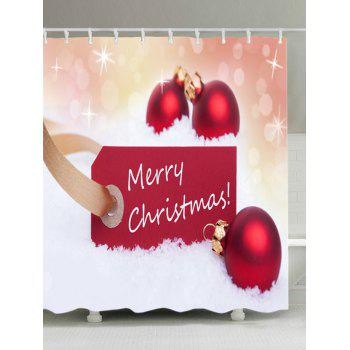 Merry Christmas Baubles Print Waterproof Bathroom Shower Curtain - RED RED