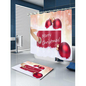 Merry Christmas Baubles Print Waterproof Bathroom Shower Curtain - RED W59 INCH * L71 INCH