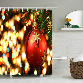 Christmas Bauble Lights Print Waterproof Bathroom Shower Curtain - RED RED