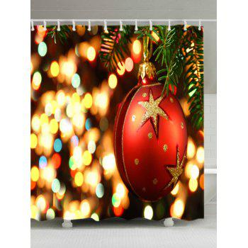 Christmas Bauble Lights Print Waterproof Bathroom Shower Curtain - RED W71 INCH * L79 INCH