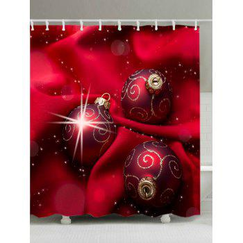 Christmas Cloth Baubles Print Waterproof Bathroom Shower Curtain - RED RED