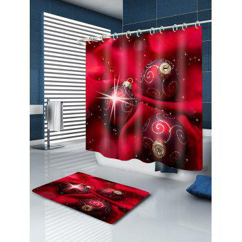 Christmas Cloth Baubles Print Waterproof Bathroom Shower Curtain - RED W59 INCH * L71 INCH