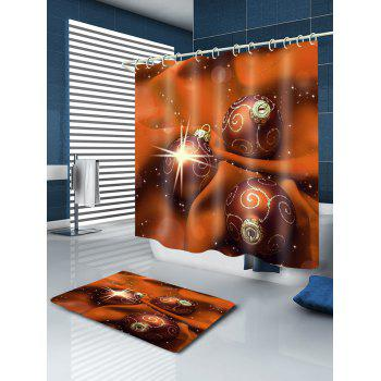 Christmas Cloth Baubles Print Waterproof Bathroom Shower Curtain - MANDARIN W71 INCH * L71 INCH