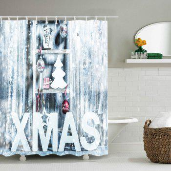 Xmas Snow Print Waterproof Bathroom Shower Curtain - WHITE WHITE