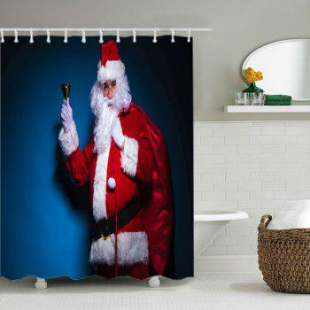 Christmas Santa Claus Print Waterproof Bathroom Shower Curtain - RED W71 INCH * L71 INCH