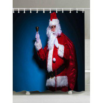 Christmas Santa Claus Print Waterproof Bathroom Shower Curtain - RED W71 INCH * L79 INCH