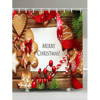 Christmas Cookies Print Waterproof Bathroom Shower Curtain - COLORMIX W59 INCH * L71 INCH