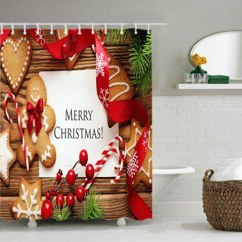 Christmas Cookies Print Waterproof Bathroom Shower Curtain - COLORMIX W71 INCH * L71 INCH