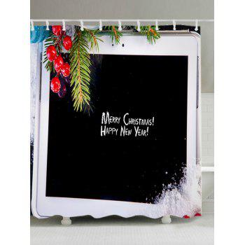 Christmas Tablet Computer Print Waterproof Bathroom Shower Curtain - BLACK BLACK