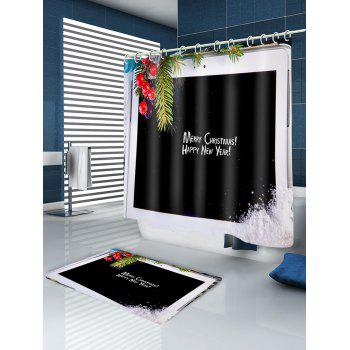 Christmas Tablet Computer Print Waterproof Bathroom Shower Curtain - BLACK W71 INCH * L71 INCH
