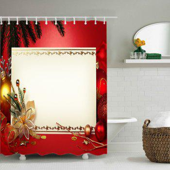Christmas Decoration Print Waterproof Bathroom Shower Curtain - RED RED