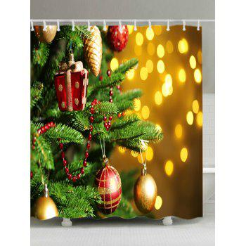 Christmas Tree Baubles Print Waterproof Bathroom Shower Curtain - COLORMIX W71 INCH * L71 INCH