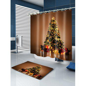 Christmas Tree Gifts Print Waterproof Bathroom Shower Curtain - GOLD BROWN GOLD BROWN