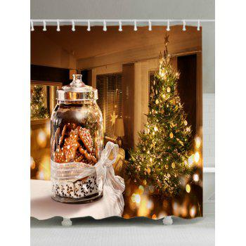 Christmas Tree Biscuits Print Waterproof Bathroom Shower Curtain - COLORMIX W71 INCH * L71 INCH