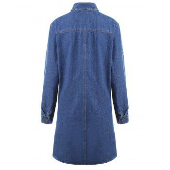 Plus Size Half Button Pocket Denim Coat - BLUE BLUE
