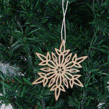 10 Pcs Christmas Tree Decorations Wooden Snowflake - WOOD WOOD