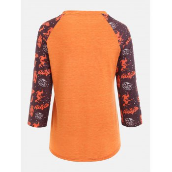 Raglan Sleeve Personalized Sentence Print Halloween T-shirt - ORANGE 2XL