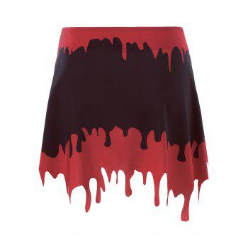 Halloween A-line Blood Drenched Skirt - BLACK/RED BLACK/RED