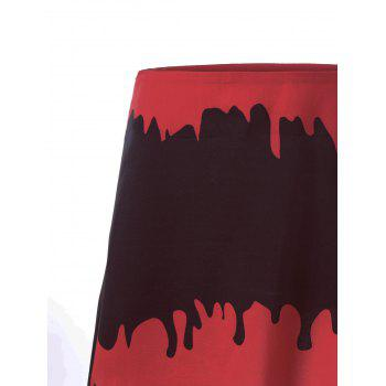 Halloween A-line Blood Drenched Skirt - BLACK/RED XL