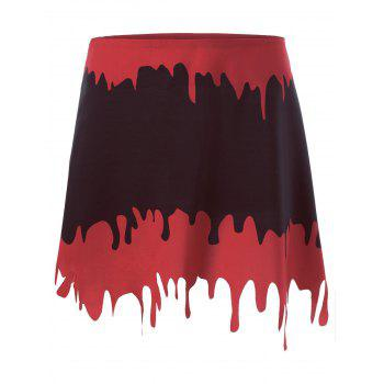 Halloween A-line Blood Drenched Skirt - BLACK&RED BLACK/RED