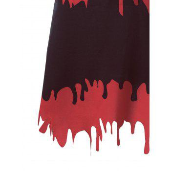 Halloween A-line Blood Drenched Skirt - BLACK/RED 2XL