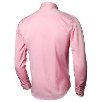 Long Sleeve Leaves Embroidered Shirt - PINK PINK