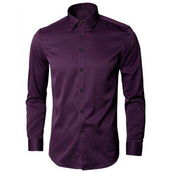 Long Sleeve Leaves Embroidered Shirt - PURPLE 5XL