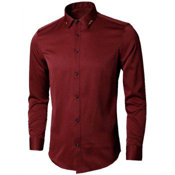 Long Sleeve Leaves Embroidered Shirt - WINE RED 5XL