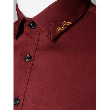 Long Sleeve Leaves Embroidered Shirt - WINE RED WINE RED
