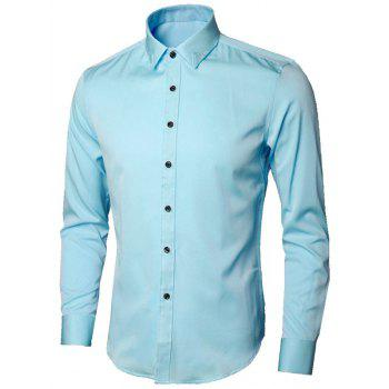 Long Sleeve Leaves Embroidered Shirt - LIGHT BLUE 5XL