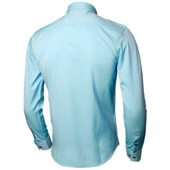 Long Sleeve Leaves Embroidered Shirt - LIGHT BLUE 4XL