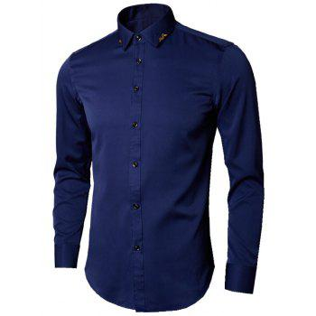 Long Sleeve Leaves Embroidered Shirt - DEEP BLUE 5XL