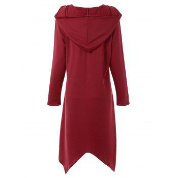 Plus Size Asymmetric Long Duffle Cloak Coat - WINE RED XL