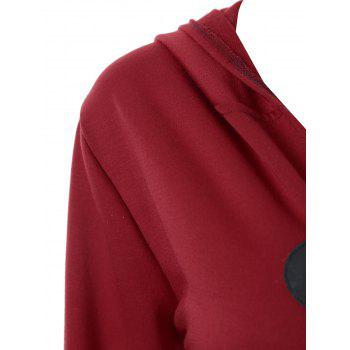 Plus Size Asymmetric Long Duffle Cloak Coat - WINE RED 4XL