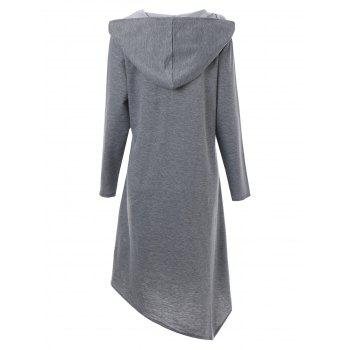 Plus Size Asymmetric Long Duffle Cloak Coat - GRAY GRAY