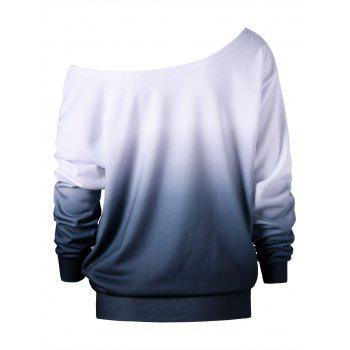 Plus Size Buttterfly Print Skew Neck Sweatshirt - WHITE 3XL