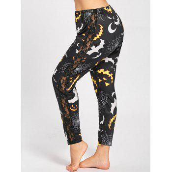 Plus Size Lace Panel Halloween Pumpkin Printed Leggings