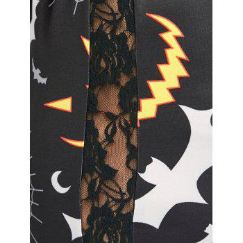 Plus Size Lace Panel Halloween Pumpkin Printed Leggings - BLACK BLACK
