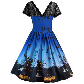Robe Halloween à Empiècement en Dentelle Vintage - Bleu Royal 2XL